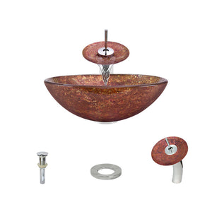 Polaris P936 Round Colored Glass Bathroom Vessel Sink and Waterfall Faucet Ensemble