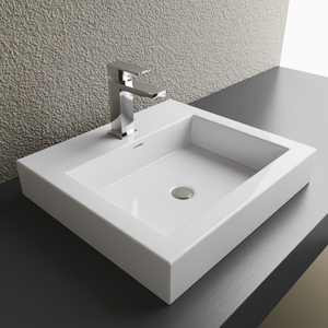 Cantrio Koncepts Square Vitreous China Countertop Sink - White Matte Finish