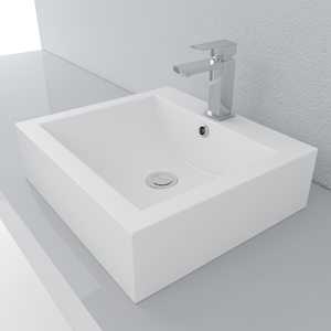 Cantrio Koncepts Square Solid Surface Vessel Sink - White Matte Finish
