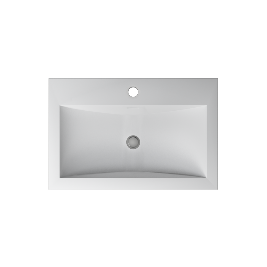 Cantrio Koncepts Rectangular Solid Surface Semi Recessed Sink - White (Matte Finish)