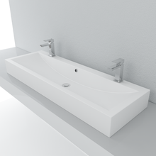 Load image into Gallery viewer, Cantrio Koncepts Rectangular Double Solid Surface Vessel Sink - White (Matte Finish)