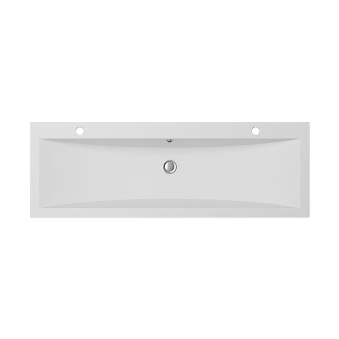 Cantrio Koncepts Rectangular Double Solid Surface Vessel Sink - White (Matte Finish)