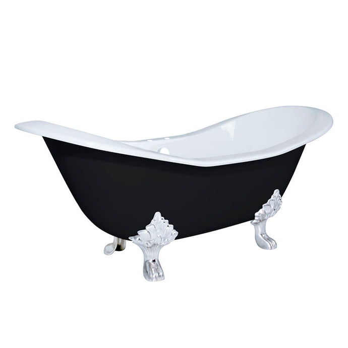 Kingston Brass Aqua Eden Black 72-Inch Cast Iron Double Slipper Clawfoot Tub with 7-Inch Faucet Drillings