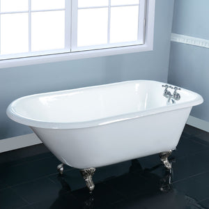Kingston Brass Aqua Eden 48-Inch Cast Iron Roll Top Clawfoot Tub with 3-3/8 Inch Wall Drillings
