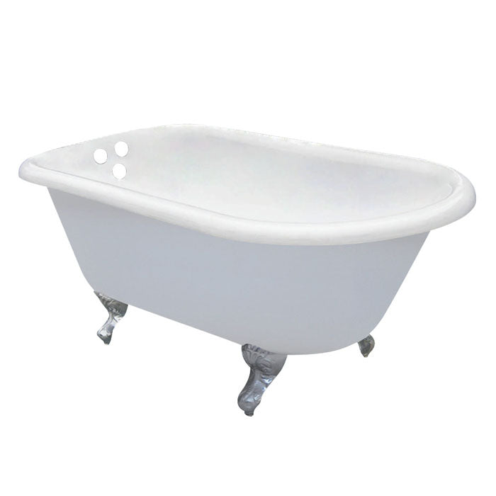 Kingston Brass Aqua Eden 60-Inch Cast Iron Roll Top Clawfoot Tub with 3-3/8 Inch Wall Drillings