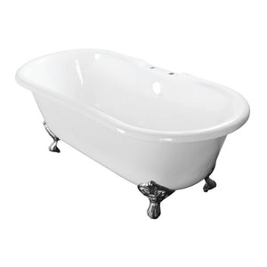 Kingston Brass Aqua Eden 60-Inch Cast Iron Double Ended Clawfoot Tub with 7-Inch Faucet Drillings