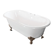 Load image into Gallery viewer, Kingston Brass Aqua Eden 60-Inch Cast Iron Double Ended Clawfoot Tub with 7-Inch Faucet Drillings