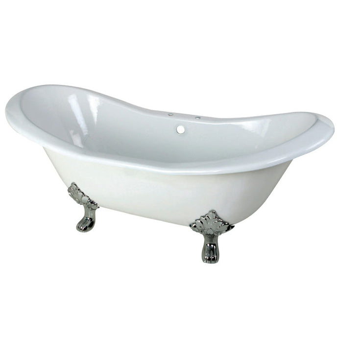 Kingston Brass Aqua Eden 72-Inch Cast Iron Double Slipper Clawfoot Tub with Center Drain and 7-Inch Faucet Drillings