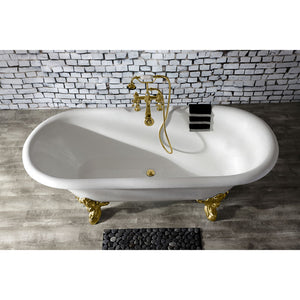 Kingston Brass Aqua Eden 72-Inch Cast Iron Double Ended Clawfoot Tub with 7-Inch Faucet Drillings