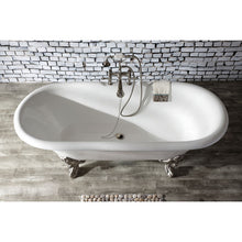 Load image into Gallery viewer, Kingston Brass Aqua Eden 72-Inch Cast Iron Double Ended Clawfoot Tub with 7-Inch Faucet Drillings