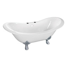 Load image into Gallery viewer, Kingston Brass Aqua Eden 61-Inch Cast Iron Double Slipper Clawfoot Tub with 7-Inch Faucet Drillings