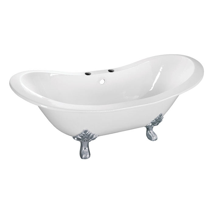 Kingston Brass Aqua Eden 61-Inch Cast Iron Double Slipper Clawfoot Tub with 7-Inch Faucet Drillings