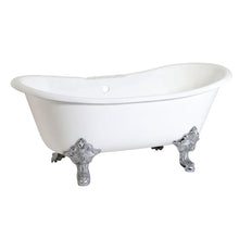 Load image into Gallery viewer, Kingston Brass Aqua Eden 67-Inch Cast Iron Double Slipper Clawfoot Tub with 7-Inch Faucet Drillings