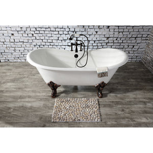 Kingston Brass Aqua Eden 67-Inch Cast Iron Double Slipper Clawfoot Tub with 7-Inch Faucet Drillings