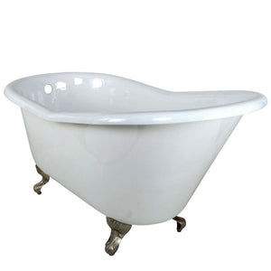 Kingston Brass Aqua Eden 60-Inch Cast Iron Single Slipper Clawfoot Tub (No Faucet Drillings)