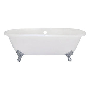 Kingston Brass Aqua Eden 66-Inch Cast Iron Double Ended Clawfoot Tub (No Faucet Drillings)