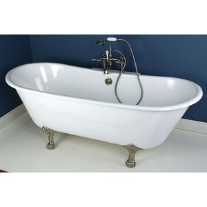 Kingston Brass Aqua Eden 67-Inch Cast Iron Double Slipper Clawfoot Tub with Center Drain (No Faucet Drillings)