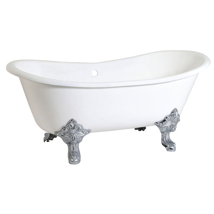 Kingston Brass Aqua Eden 67-Inch Cast Iron Double Slipper Clawfoot Tub with Center Drain and Overflow (No Faucet Drillings)