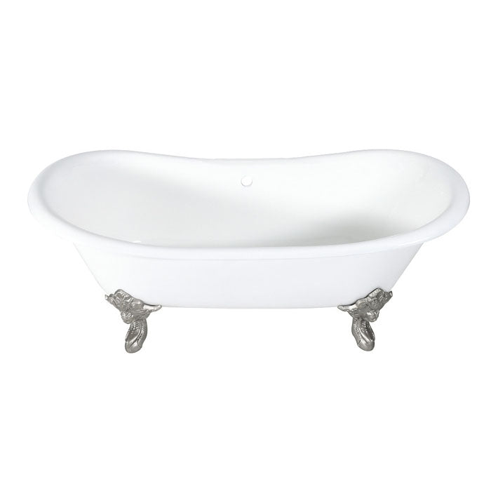 Kingston Brass Aqua Eden 72-Inch Cast Iron Double Slipper Clawfoot Tub with Center Drain (No Faucet Drillings)