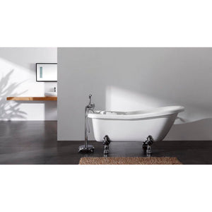 Kingston Brass Aqua Eden 67-Inch Acrylic Single Slipper Clawfoot Tub with Reversible Drain and 7-Inch Faucet Drillings