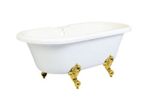 Load image into Gallery viewer, Kingston Brass Aqua Eden 67-Inch Acrylic Double Ended Clawfoot Tub with 7-Inch Faucet Drillings and Center Drain