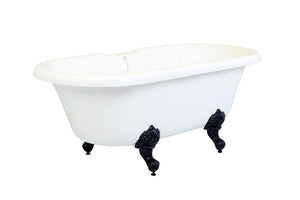 Kingston Brass Aqua Eden 67-Inch Acrylic Double Ended Clawfoot Tub with 7-Inch Faucet Drillings and Center Drain
