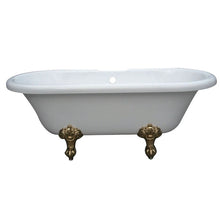 Load image into Gallery viewer, Kingston Brass Aqua Eden 67-Inch Acrylic Double Ended Clawfoot Tub with Center Drain and 7-Inch Faucet Drillings