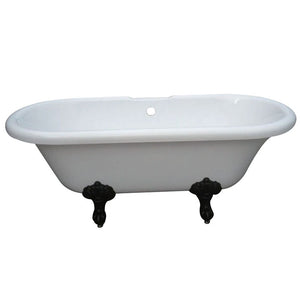 Kingston Brass Aqua Eden 67-Inch Acrylic Double Ended Clawfoot Tub with Center Drain and 7-Inch Faucet Drillings