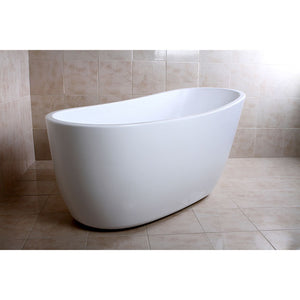 Kingston Brass Aqua Eden 59-Inch Acrylic Single Slipper Freestanding Tub with Drain