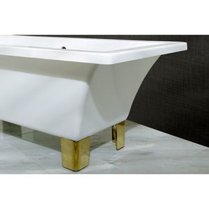 Kingston Brass Aqua Eden 67-Inch Acrylic Double Ended Clawfoot Tub with Center Drain (No Faucet Drillings)