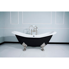Load image into Gallery viewer, Kingston Brass Aqua Eden Black 72-Inch Cast Iron Double Slipper Clawfoot Tub with 7-Inch Faucet Drillings