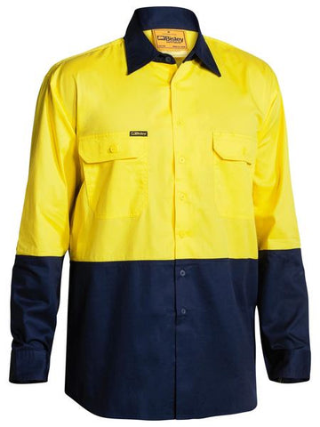 TWO TONE HI VIS COOL LIGHTWEIGHT DRILL SHIRT - LONG SLEEVE