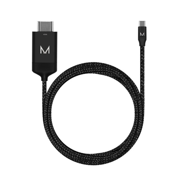 cord+ 2m USB-C to HDMI A Male Nylon Cable | Raven Black