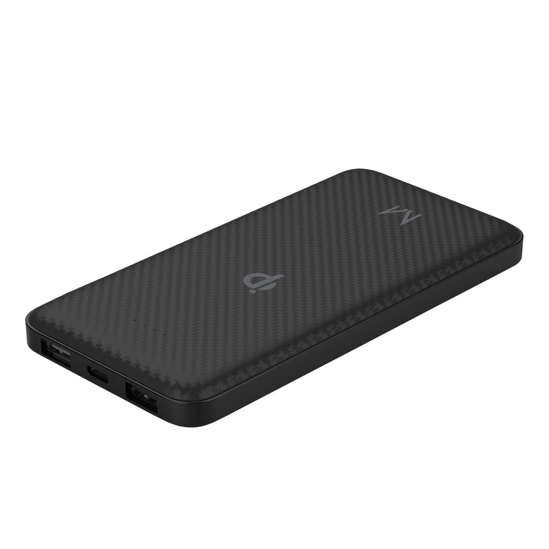 watt+ 8000mAh PD Qi 10W Wireless 18W Power Bank | Raven Black