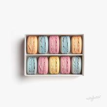 Load image into Gallery viewer, Nuttybutter box of 10 macarons. Flavours include our Nuttybutter blueberry macaron, Nuttybutter strawberry macaron, Nuttybutter lemon macaron, Nuttybutter blood orange macaron.