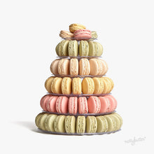 Load image into Gallery viewer, The most beautiful macaron tower. This macaron tower includes a delicious assortment of eighty Nuttybutter french macarons.