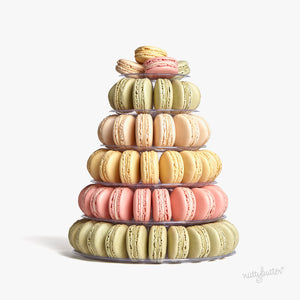 The most beautiful macaron tower. This macaron tower includes a delicious assortment of eighty Nuttybutter french macarons.