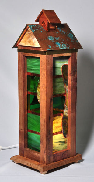 Lamp - White Limba , Cocobolo Wood with green glass accents and a Patina Copper Roof