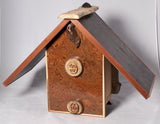Birdhouse - Pear Log and Walnut Burl Veneer Roof - Melanie - MH Studios