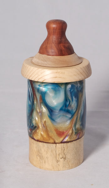 Pet urn - Spalted Tamarind, Pear, blue, gold, red and white resin with a top of Paduck and Maple - Melanie - MH Studios
