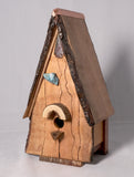 Birdhouse  - Live edge Cherry with pyrography, petrified wood and copper