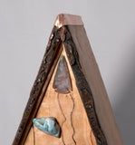 Birdhouse  - Live edge Cherry with pyrography, petrified wood and copper - Melanie - MH Studios