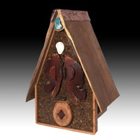 Birdhouse  - Spalted Maple / Cherry roof & Copper Ridge Line - Melanie - MH Studios