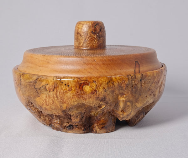 Spalted Maple Burl base with Carved Maple top - Melanie - MH Studios