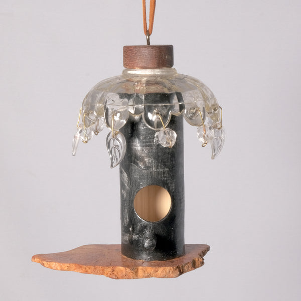 Small Birdhouse - Hummingbird House - Painted Bamboo with Burl base and glass top - Melanie - MH Studios