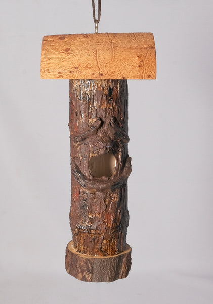 Small Birdhouse - Hummingbird House - Bamboo with Sculpted face, Log parts and Bradford Pear - Melanie - MH Studios