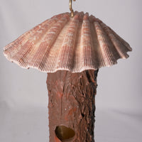 Small Birdhouse - Hummingbird House - Bamboo with Sculpted Surface, with a Scallop Fan shell hood - Melanie - MH Studios