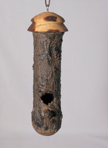 Small Birdhouse - Hummingbird House - Bamboo with Sculpted Surface, with Lebanon Cedar and Laurel - Melanie - MH Studios