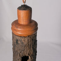 Small Birdhouse - Hummingbird House - Bamboo with Sculpted Surface, with Mahogany - Melanie - MH Studios