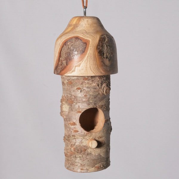 Small Birdhouse - Hummingbird House - Cherry Log house with Milled top of Crepe Myrtle